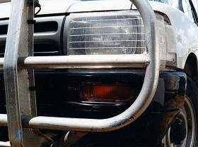 close up shot of the left edge of the ute's bullbar
