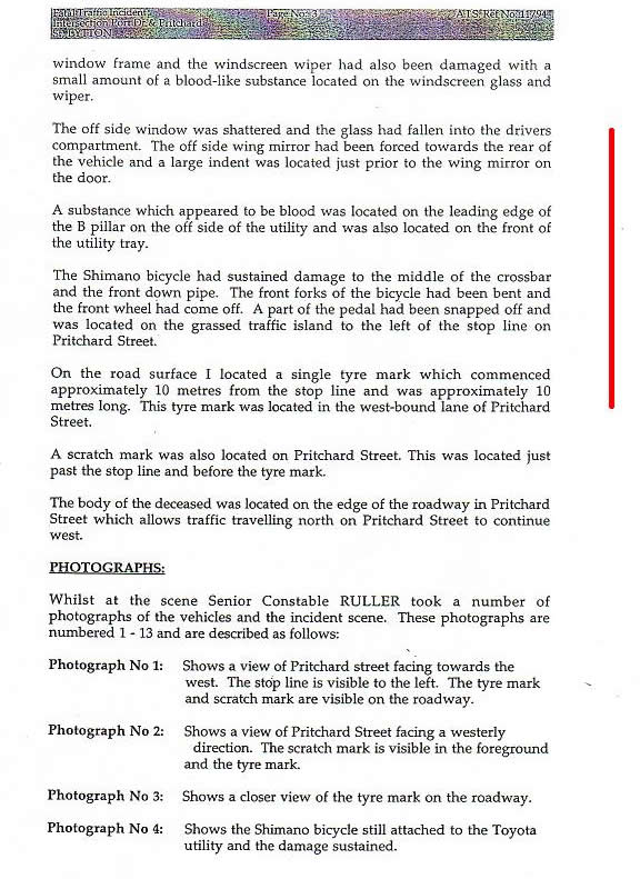 3rd page Coronial Report