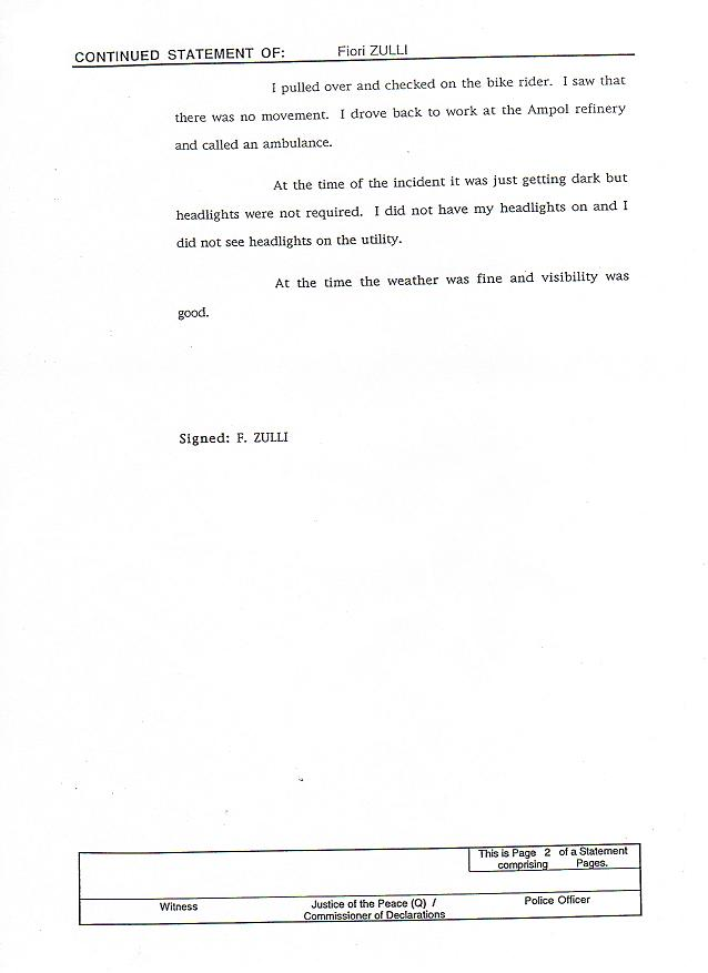 2nd page Fiore Zulli's Police Statement