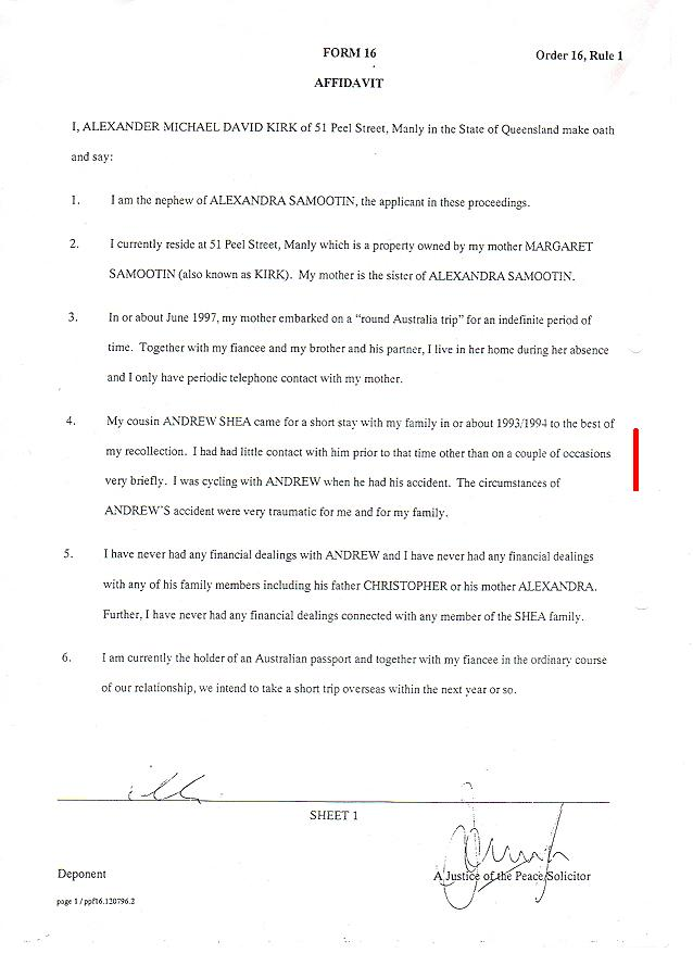 Alexander Michael David Kirk - 2nd page afidavit