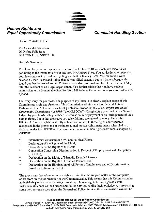 letter from Human Rights and Equal Opportunity Commission